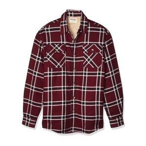 WRANGLER Sherpa Lined Flannel Button-Down Shirt